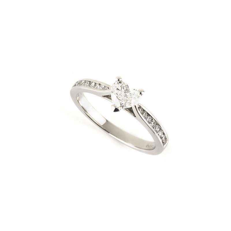 18k White Gold Heart Shape Diamond Ring 0.39ct G/VS